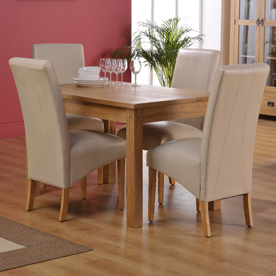 2018 Ivory Leather Dining Chairs With Corrick Dining Table And 4 Ivory Faux Leather Dining Chairs (View 11 of 20)