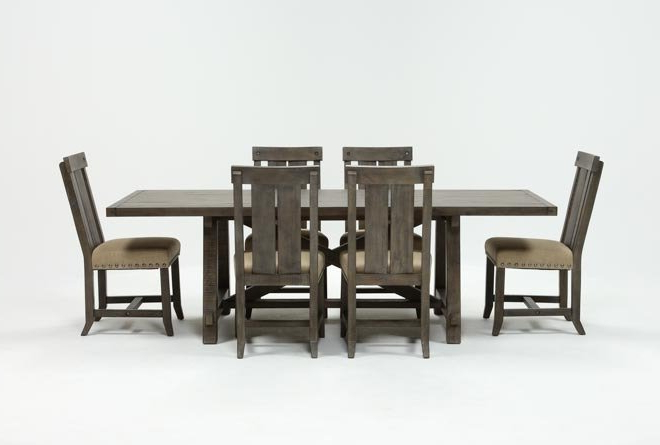 2018 Jaxon Grey 6 Piece Rectangle Extension Dining Sets With Bench & Uph Chairs For Jaxon Grey 7 Piece Rectangle Extension Dining Set W/wood Chairs (Gallery 2 of 20)