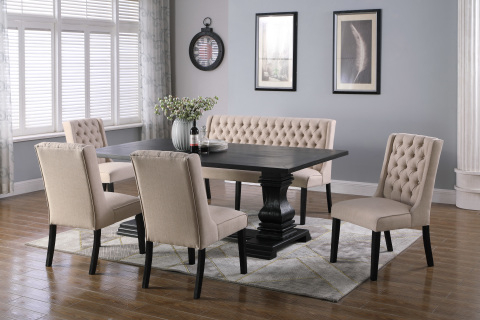 2018 Jaxon Grey 6 Piece Rectangle Extension Dining Sets With Bench & Wood Chairs Regarding Dining Tables, Chairs, Servers – Hello Furniture (Gallery 19 of 20)