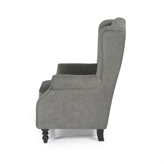 2018 Jaxon Sofa Chair In Grey Fabric With Wooden Legs 27746 Inside Jaxon Grey Wood Side Chairs (View 1 of 20)