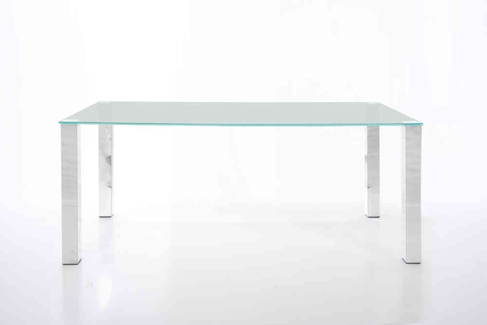 2018 Kante Large 140Cm Glass Dining Table With Chrome Legs – Homestreet In Chrome Glass Dining Tables (View 1 of 20)