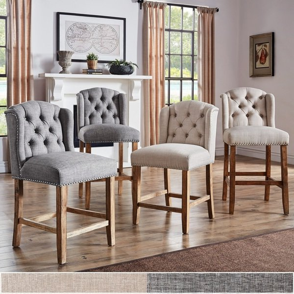 2018 Laurent 7 Piece Counter Sets With Upholstered Counterstools Intended For Shop Lakin Tufted Linen Upholstered Stool (Set Of 2)Inspire Q (View 1 of 20)