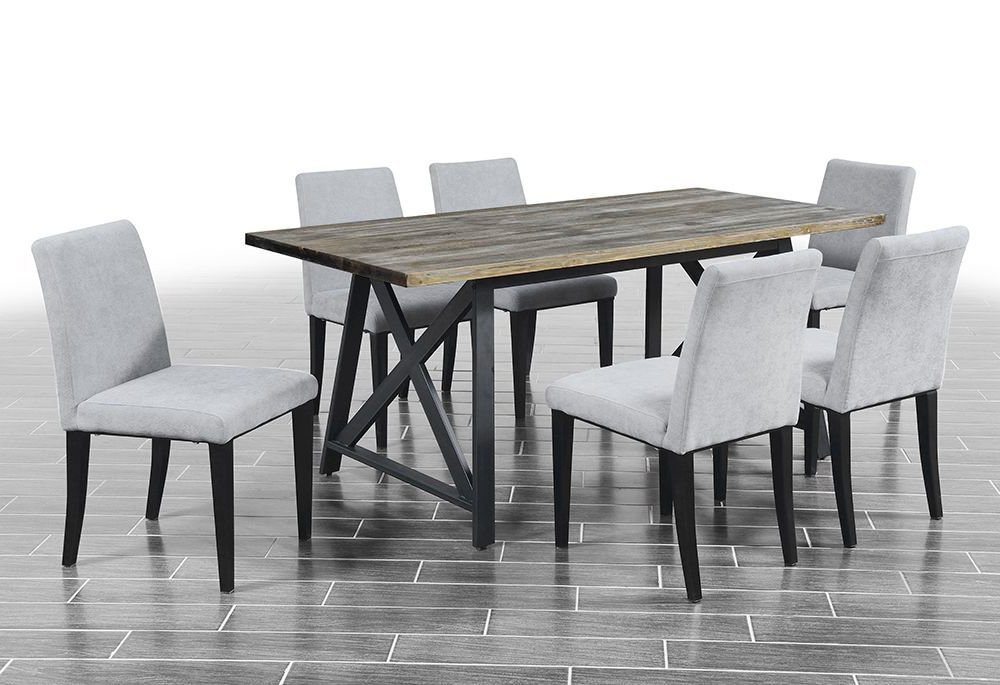 2018 Laurent 7 Piece Rectangle Dining Sets With Wood Chairs Intended For Dining Room Furniture 7 Pieces –  (View 3 of 20)