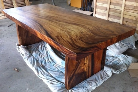 2018 Live Edge Dining Table Reclaimed Solid Slab Acacia Wood (Gallery 5 of 20)
