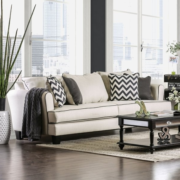 2018 Macie Contemporary Off White Fabric Chevron T Cushion Sofa Furniture Pertaining To Macie Side Chairs (View 2 of 20)
