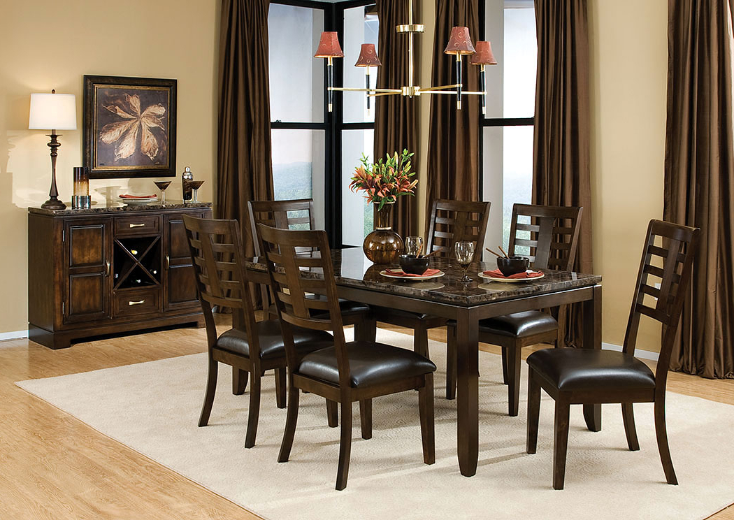 2018 Marbella Dining Tables For Albert's Home Furnishings Bella Marbella Top Dining Table W/6 Side (View 3 of 20)