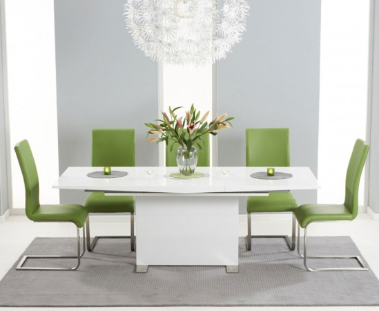 2018 Marila 150Cm White High Gloss Extending Dining Table With 6 Malibu For White Gloss Extending Dining Tables (Gallery 19 of 20)