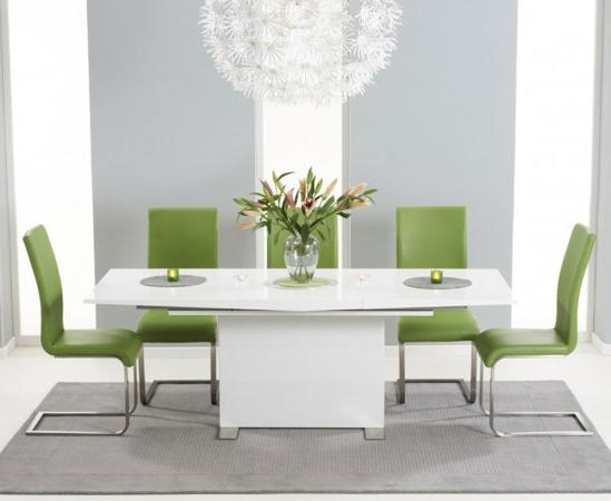 2018 Marila 150cm White High Gloss Extending Dining Table With 6 Malibu For White Gloss Extending Dining Tables (View 19 of 20)