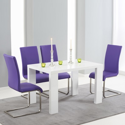 2018 Metro High Gloss White 150Cm Dining Table With 6 Milan Purple Chairs Within Dining Tables And Purple Chairs (Gallery 14 of 20)