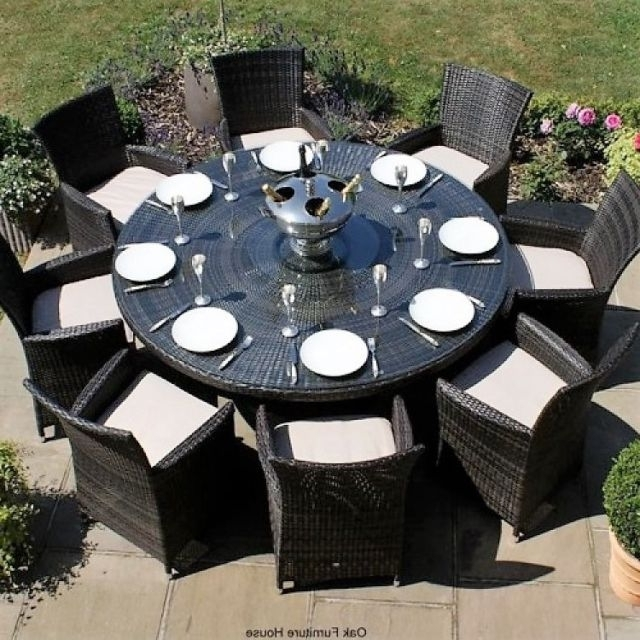 2018 Milan Baby Rattan Outdoor Garden Furniture 8 Seater Brown Round Inside 8 Seater Round Dining Table And Chairs (Gallery 18 of 20)