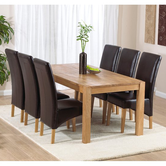 2018 Milan Oak Dining Table And 6 Roma Dining Chairs 14078 Throughout Oak Dining Tables With 6 Chairs (View 3 of 20)
