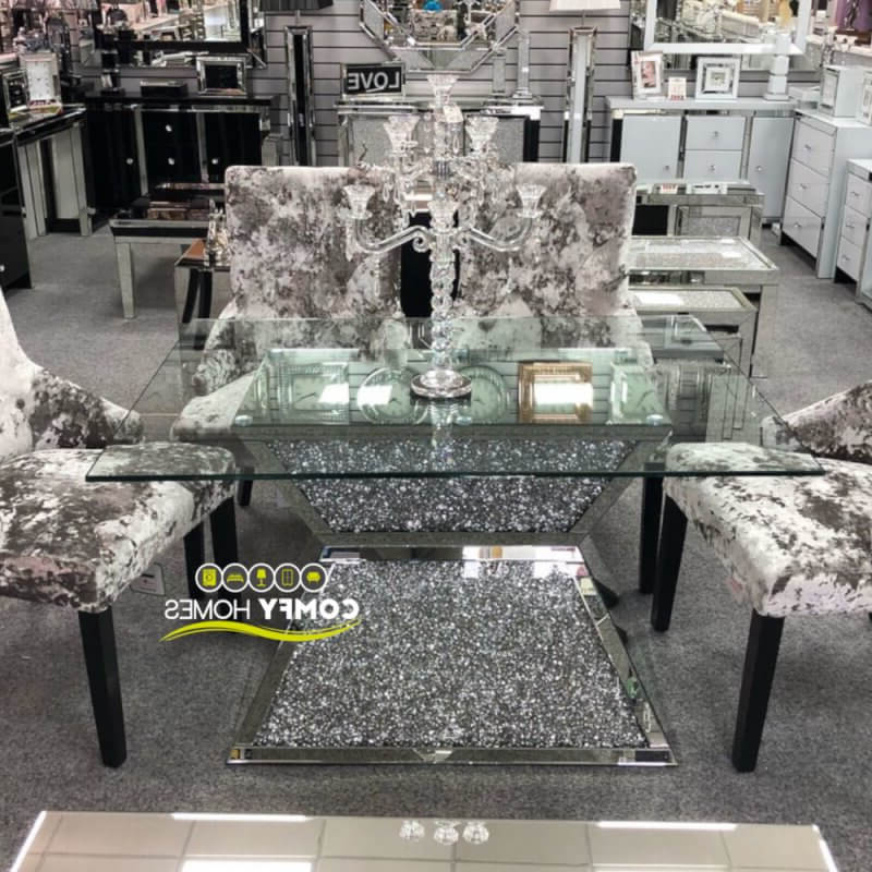 2018 Mirrored Crushed Crystal Dining Table (milano) Inside Crystal Dining Tables (View 4 of 20)