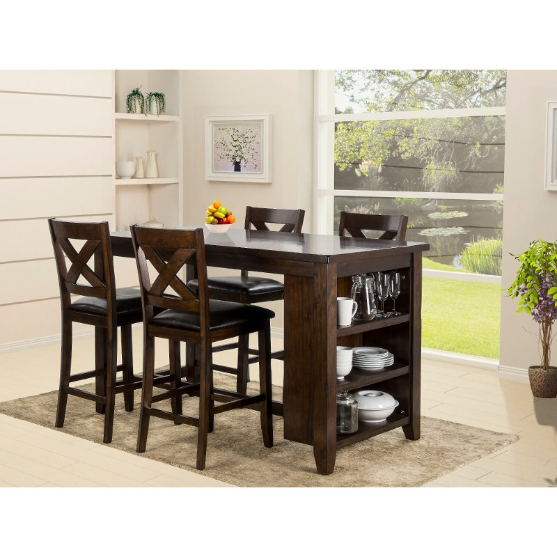 2018 Monaco Dining Sets For Dark Walnut Counter Height 5 Piece Dining Set – Monaco (View 11 of 20)