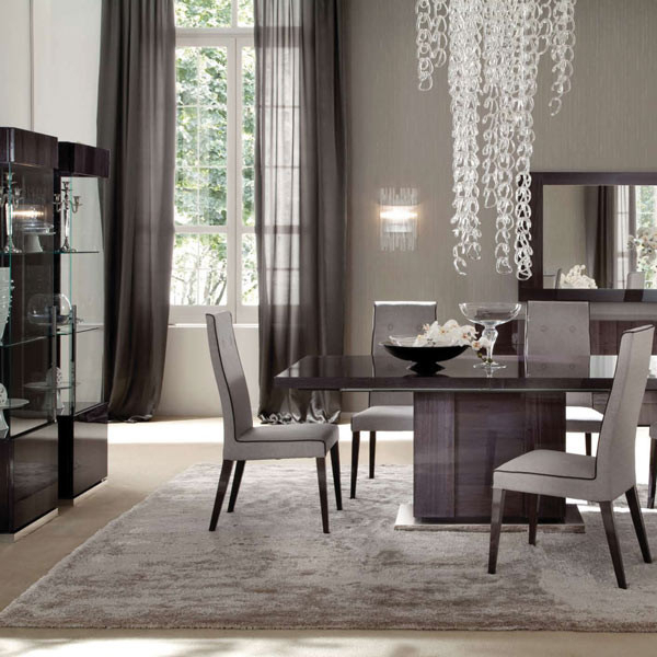 2018 Monza High Gloss Extending Large 196cm Dining Table & 6 Fabric Chairs Within Dining Tables And Fabric Chairs (View 7 of 20)