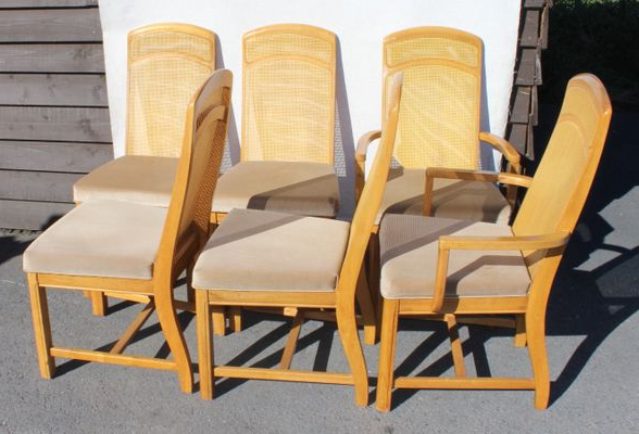 2018 Parquet 6 Piece Dining Sets Within Golden Oak Parquet Extendable Table With 6 Dining Chairs, 1960s For (View 7 of 20)