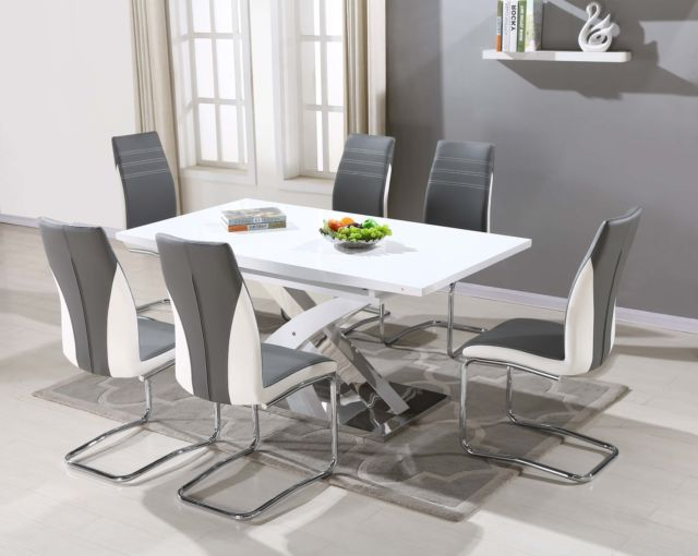 2018 Pescara Glass Dining Table Set And 6 Upholstered Padded Faux Leather Regarding High Gloss Dining Tables Sets (View 1 of 20)