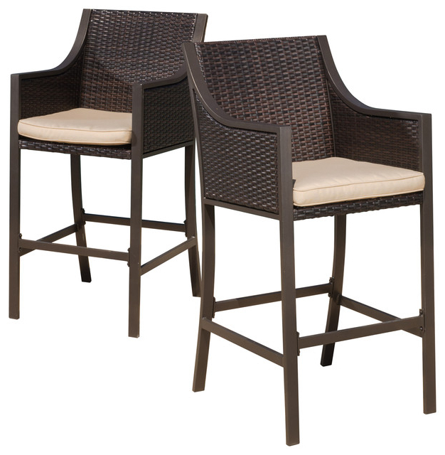2018 Rani Brown Outdoor Bar Stools, Set Of 2 – Tropical – Outdoor Bar Within Valencia 4 Piece Counter Sets With Bench & Counterstool (View 3 of 20)