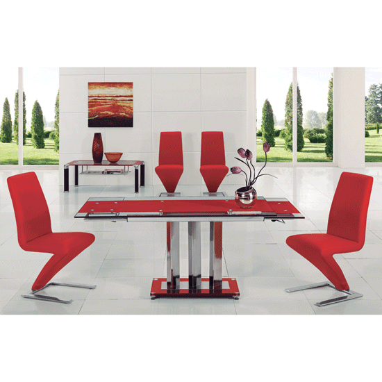 2018 Red Dining Tables And Chairs Intended For Rihanna Red Glass Extendable Dining Table With 4 Z Chairs (View 15 of 20)