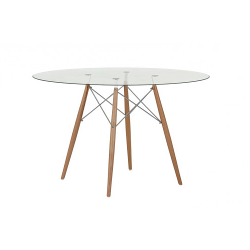2018 Replica Eames Round 120cm Glass Dining Table – Chrome And Timber Regarding Perth Glass Dining Tables (View 15 of 20)