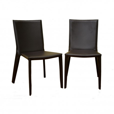 2018 Semele Dark Brown Leather Dining Chair Within Dark Brown Leather Dining Chairs (View 1 of 20)