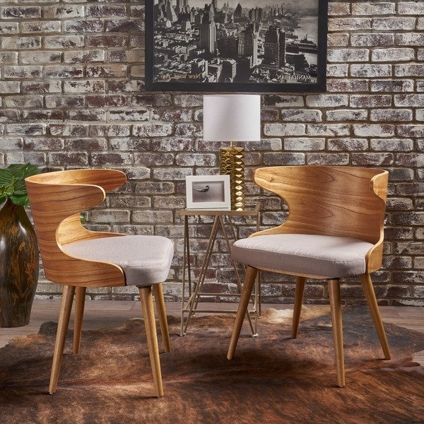 2018 Shop Kaden Mid Century Fabric Dining Chair (set Of 2)christopher Within Caden 7 Piece Dining Sets With Upholstered Side Chair (View 4 of 20)