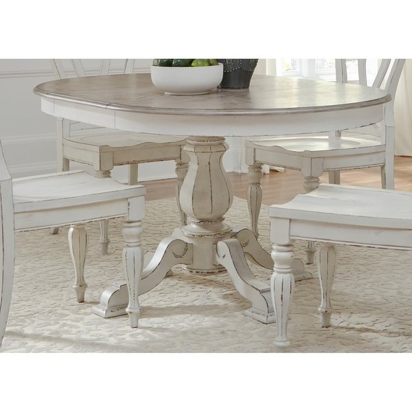 2018 Shop Magnolia Manor Antique White Pedestal Table – Antique White Regarding Magnolia Home English Country Oval Dining Tables (Gallery 2 of 20)