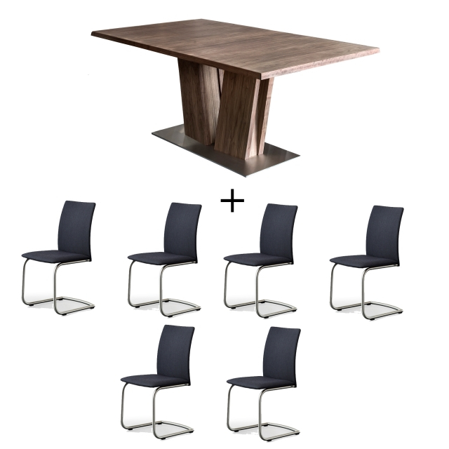 2018 Skovby Walnut Dining Table And 6 Chairs – Dining Sets – Cookes Furniture Inside Walnut Dining Table And 6 Chairs (View 1 of 20)