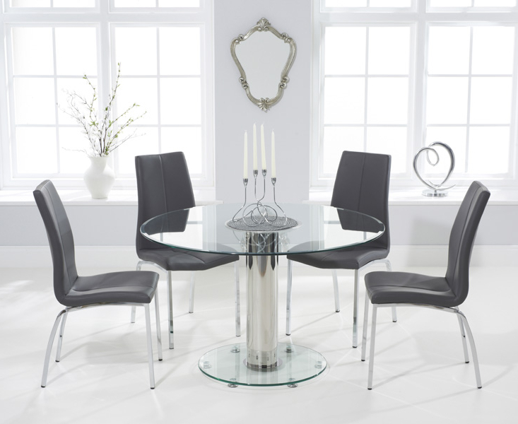 2018 Sofia 120Cm Round Glass Dining Table With Cavello Chairs Inside Round Glass And Oak Dining Tables (View 2 of 20)