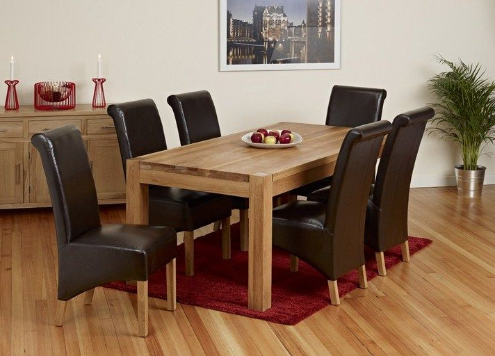 2018 Solid Oak Dining Table And 6 Chairs Red Carpet Plant Preformance In Light Oak Dining Tables And 6 Chairs (View 4 of 20)