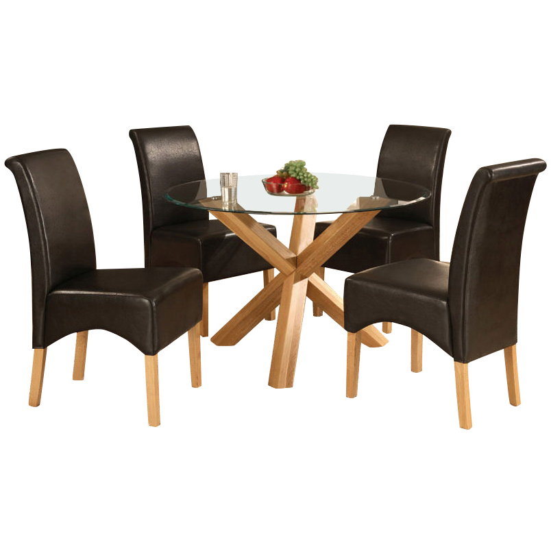 2018 Solid Oak Glass Round Dining Table And 4 Leather Chair, Round Table For Glass And Oak Dining Tables And Chairs (Gallery 7 of 20)