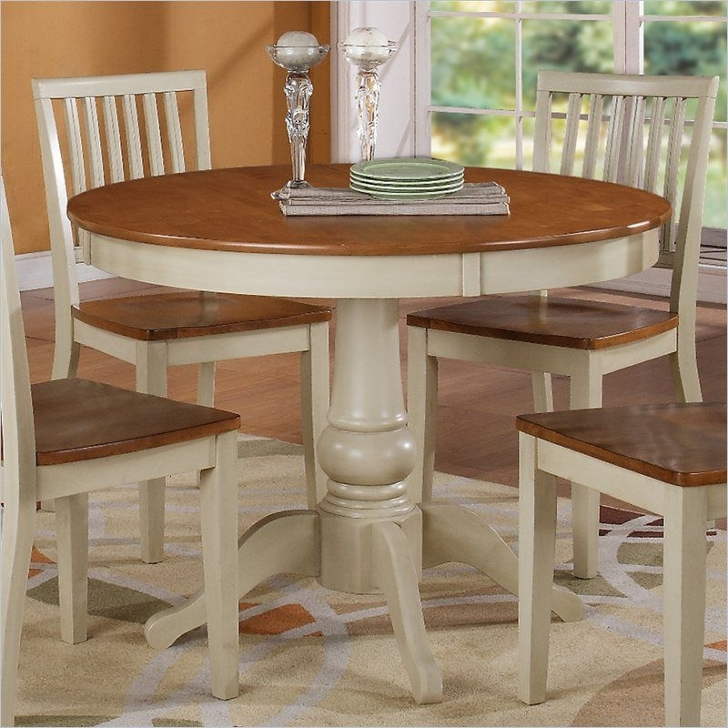 2018 Steve Silver Company Candice Round Dining Table In Oak And Off White Throughout Candice Ii 5 Piece Round Dining Sets (View 2 of 20)
