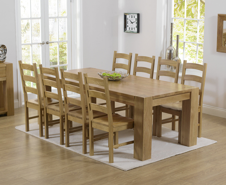 2018 Thames 220Cm Oak Dining Table With Vermont Chairs Throughout Oak Dining Set 6 Chairs (View 3 of 20)