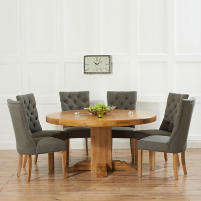 2018 Trina Solid Oak Round Dining Table With 6 Albany Grey Chairs Inside Oak Round Dining Tables And Chairs (View 2 of 20)