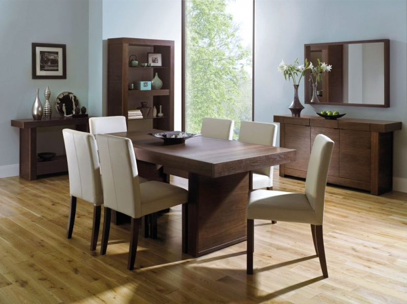 2018 Walnut Dining Table And 6 Chairs Intended For Buy Bentley Designs Akita Walnut Rectangular Dining Table – 180Cm (View 2 of 20)