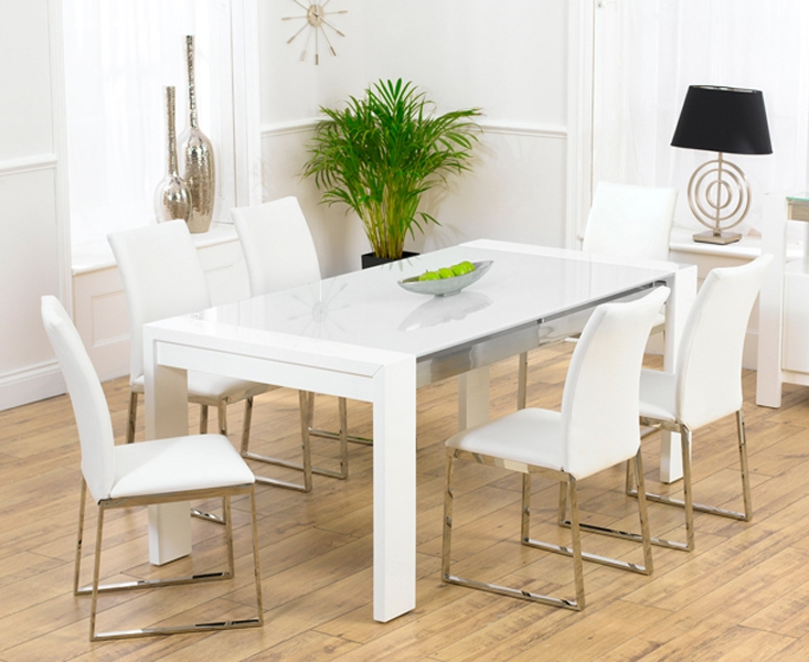 2018 White Dining Tables And 6 Chairs Regarding Scala White Gloss Dining Table Tufted Leather Dining Chair (View 2 of 20)