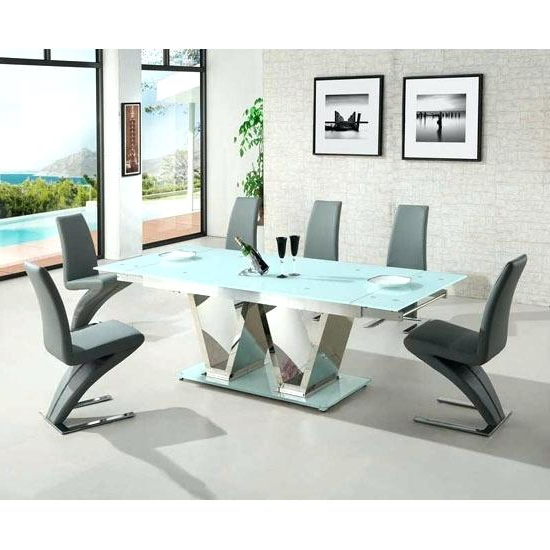 2018 White Glass Dining Table Extending – Long Computer Desk Crystalbank.club Throughout Extendable Glass Dining Tables And 6 Chairs (Gallery 3 of 20)