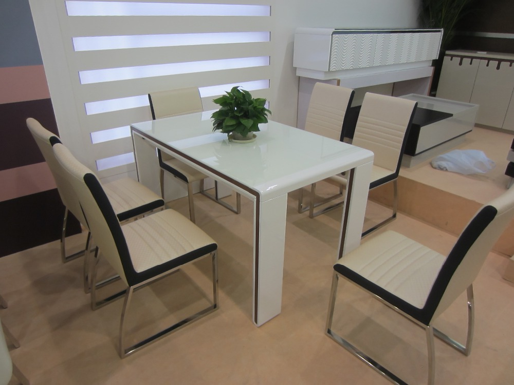 2018 White Melamine Dining Table, Wooden Dining Table With Glass Top With Regard To White Melamine Dining Tables (Gallery 3 of 20)