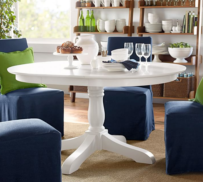 2018 White Round Extendable Dining Tables Intended For Owen Extending Pedestal Dining Table Pottery Barn Within White Round (View 2 of 20)