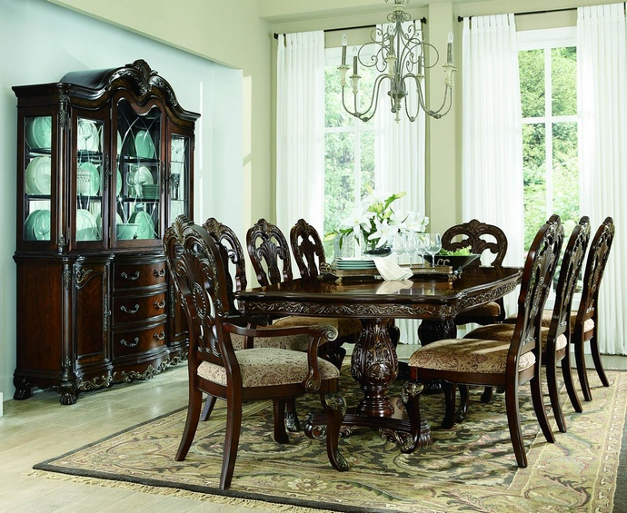 2243 114 7 Pc Deryn Park Cherry Finish Wood Double Pedestal Dining In 2017 Pedestal Dining Tables And Chairs (View 2 of 20)
