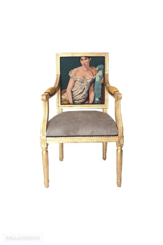 24K Gold Gilded French Louis Bergere Armchair Dining/ Accent Chair For 2017 Nautical Blue Side Chairs (Gallery 1 of 20)
