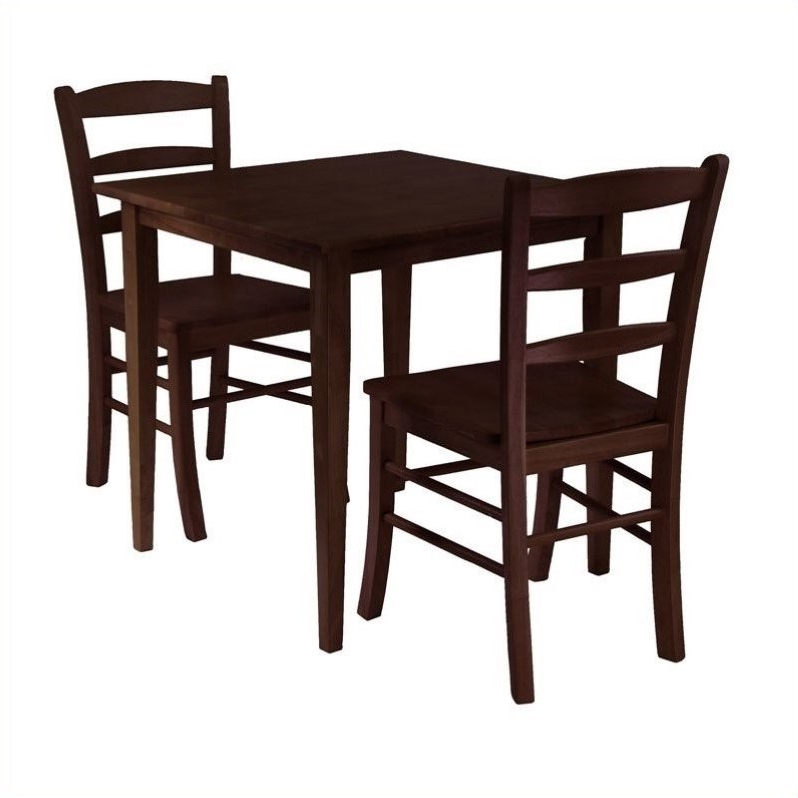 3 Piece Square Casual Dining Set In Antique Walnut – 94332 Within 2018 Two Person Dining Table Sets (Gallery 13 of 20)