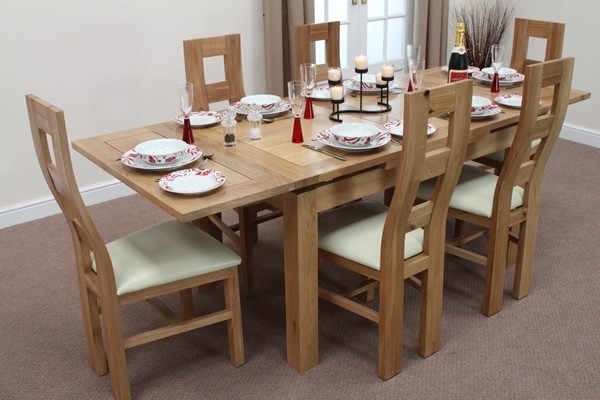 """3Ft Dining Tables Pertaining To Widely Used Dorset 4Ft 7"""" X 3Ft Solid Oak Extending Dining Table + 6 Cream Wave (View 4 of 20)"""