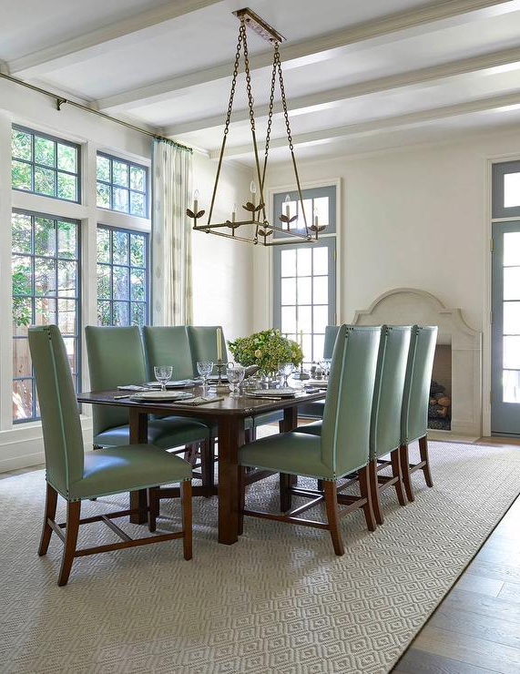 4. Green Dining Room Furniture White And Green Dining Room With Regarding Trendy Green Dining Tables (Gallery 10 of 20)