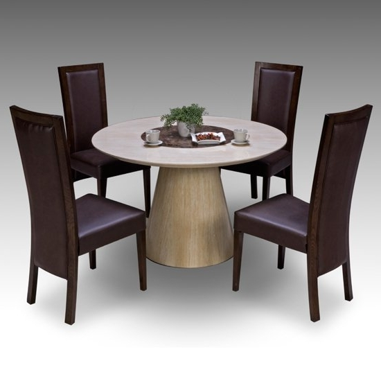 4 Seat Dining Tables Throughout Well Known Retro Round Marble Dining Table + 4 Retro Elm Chairs  (View 7 of 20)