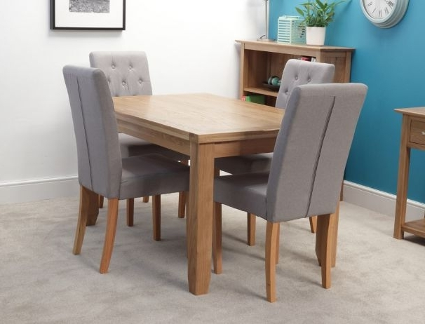 4 Seat Dining Tables Within Favorite Rustic 140cm Oak Dining Table With 4 Chairs (View 20 of 20)
