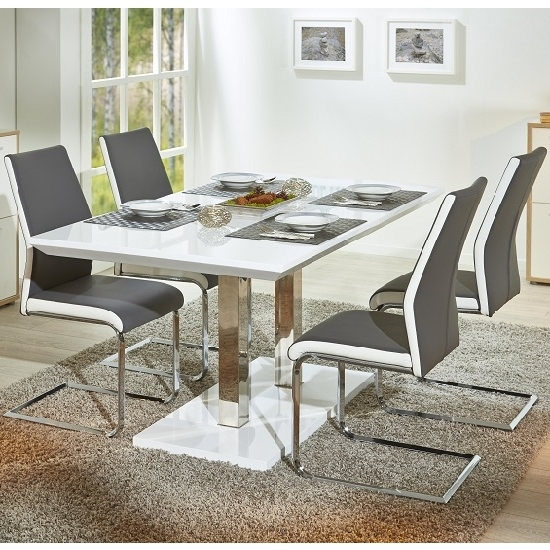 4 Seater Extendable Dining Tables Intended For Fashionable Edmonton Extendable Dining Table White Gloss 4 Marine Grey (View 3 of 20)