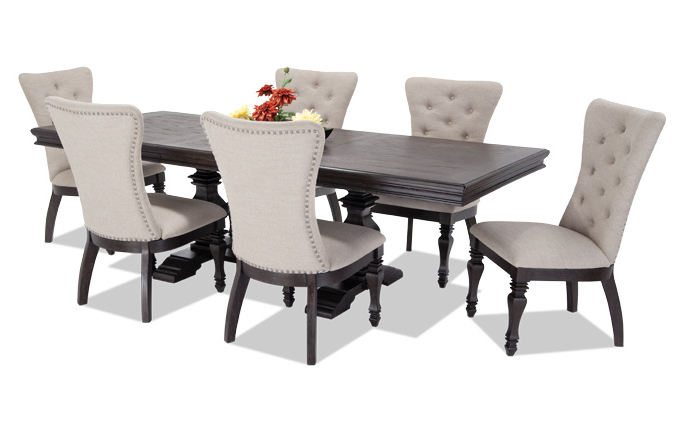 5. Jaxon 5 Piece Round Dining Set W Upholstered Chairs Qty 1 Has Intended For 2017 Jaxon Grey 5 Piece Round Extension Dining Sets With Upholstered Chairs (Gallery 19 of 20)