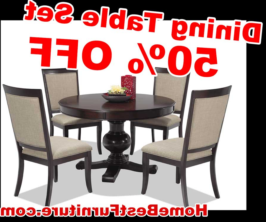 50 Percent Off Discount Gatsby Round 5 Piece Dining Set With Side Intended For Most Current Valencia 5 Piece Round Dining Sets With Uph Seat Side Chairs (Gallery 19 of 20)