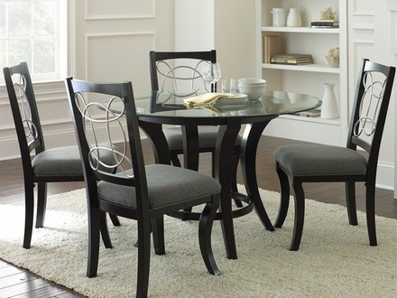 54 Black Dining Table Sets, Furniture: Black Round Dining Tables Intended For Favorite Macie 5 Piece Round Dining Sets (Gallery 16 of 20)