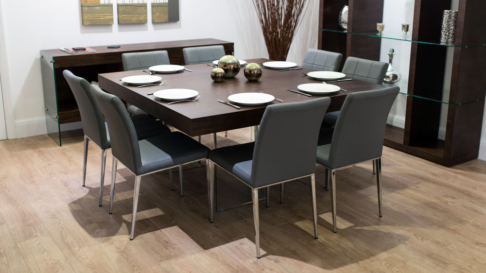 6 8 Quilted Chairs Regarding 2017 Dark Wood Square Dining Tables (View 4 of 20)